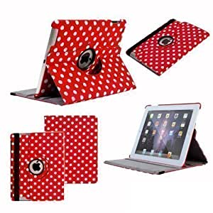 Neotechs® - Funda Para iPad 2 3 4 Piel Rojo Estilo Cartera Lunares Clásica Retro Con Soporte Giratorio 360º