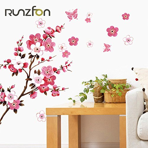 Romote Cherry Blossom PVC Wall Stickers Impermeabile Background Wallpaper Camera Cafe Poster da Parete Picc
