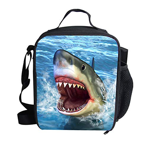 """Ledback 3D Zoo Animal Shark Lunch Bag for Kids Print Lunch Box 9.8x7.5 """" Storage Bag Children Girls Durable Food Drink Container Bag with Insulated Lining Portable Zipper Outdoor Cooler Bag"""