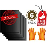 Alexius BBQ Grill Mat, Grill Gloves: Insulated Silicone Oven Mitts, Thick, Durable, Heat Resistant, Heavy Duty (6pcs, Orange Gloves)