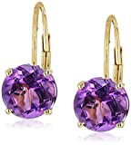 10k Yellow Gold African Amethyst Round Lever Dangle Earrings