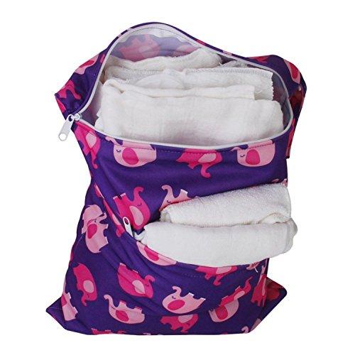 Bolsa de panal de bebe - SODIAL(R)Bolsa de panal de bebe de tela impermeable reutilizable y lavable con doble cremalleras (patron de elefante, violado)