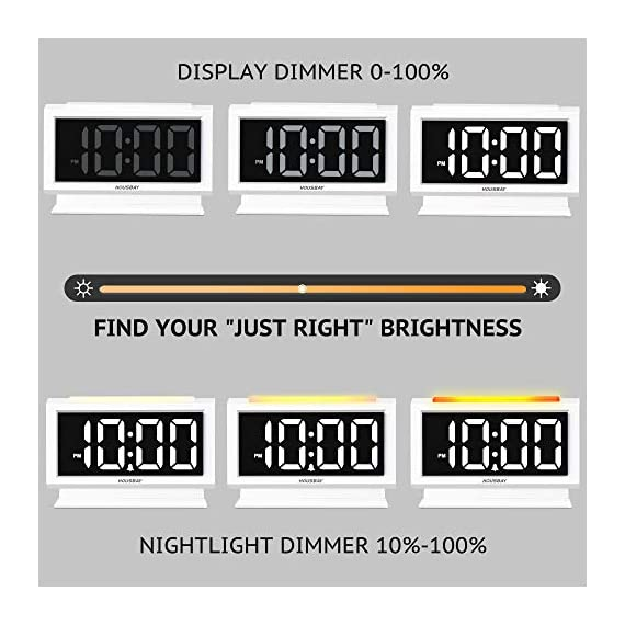 Housbay Digital Alarm Clocks for Bedrooms - Handy Night Light, Large Numbers with Display Dimmer, Dual USB Chargers, 12/24hr, Outlets Powered Compact Clock for Nightstand, Desk, Shelf - 【LARGE 5.3'' LED DISPLAY WITH 1.8'' JUMBO DIGITS】- This large led display makes it easy for anyone to check the time from across the room. The full range dimmer facilitates time viewing at all times. Great choice for your bedside and kids' room 【HANDY 2-COLOR NIGHT LIGHT】- White and orange. The brightness-adjustable night light will come in handy especially for baby's nighttime feedings and diaper changes, comforting child to sleep with gentle light on and lighting up the path to bathroom 【HANDY DUAL USB CHARGERS】- It comes with dual USB ports at the back to charge your phones, tablets, or other 5V electronics - clocks, bedroom-decor, bedroom - 51UEoc66DfL. SS570  -