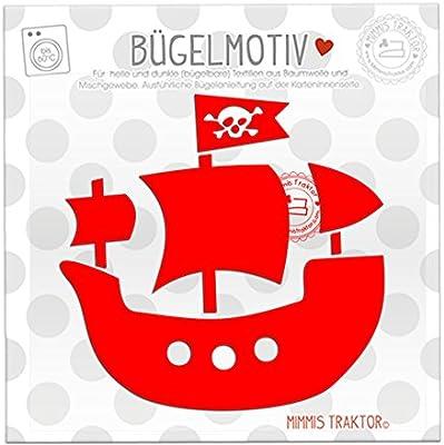 mimmis Tractor® plancha de barco pirata 11 cm x 10,7 cm rojo ...