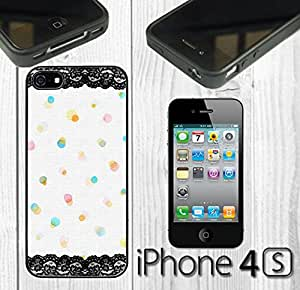 Lace Various Watercolor Dots Custom made Case/Cover/skin FOR iPhone 4/4s - Black - Rubber Case