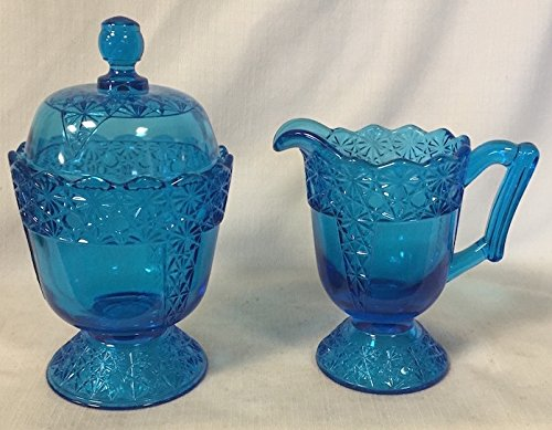 Creamer & Sugar Bowl - Queen's Pattern - Mosser Glass - USA American Made (Colonial Blue) (Pattern Glass Creamer)