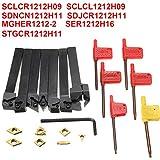 Pukido 7pcs 12mm Shank CNC Lathe Turning Tool Holder Set with Carbide Inserts