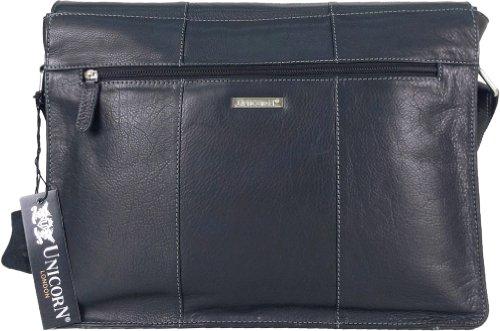 "UNICORN Echt Leder 16.4"" laptop Tasche Messenger Schwarz bag #6E"