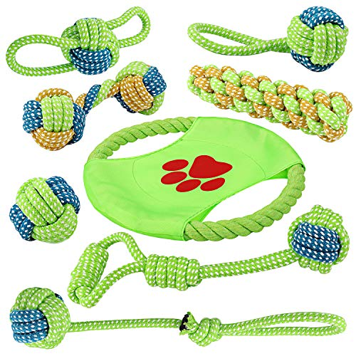 (EAUPET Dog Rope Toys, 8 Pack Puppy Chew Toys, Dog Cotton Rope Knot Toys Dog Ball for Small Medium Dogs, Puppy Chew Teething, Stress-Free Dog Training Gifts)