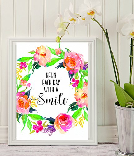 Begin Each Day With A Smile Wall Decal - Bedroom Decals - Bathroom Decals - Bathroom Decor - Wall Decal - Wall Decor - Decals-all decorations - Home Decor - wall art Watercolor Floral - #WP-01