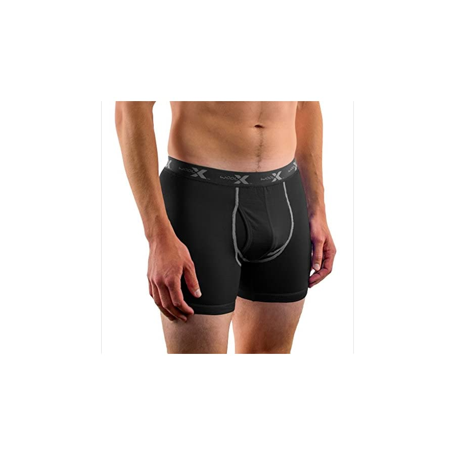 WoolX Dailys Men's Merino Wool Boxer Briefs Knock Out Odor & Sweat Lightweight & Breathable Boxers