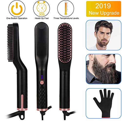 Beard Straightener for Men - Candywe 3-in-1 Ionic Heated Beard and Hair Straightening Comb, Beard...