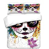 iPrint 3Pcs Duvet Cover Set,Sugar Skull Decor,Cultural Celebration Mexican Traditional Make Up Girl Face Watercolors Decorative,Multicolor,Best Bedding Gifts for Family/Friends