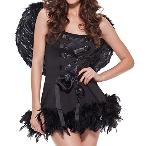 [Quesera Women's Angel Costume Sexy Adult Halloween Costume with Feather Wings,Black,XX-Large] (Rosebud Angel Costumes)
