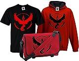 Bullshirt's Kid's Deluxe Team Valor T-Shirt, Contrast Hoodie & Messenger Bag 12 -13