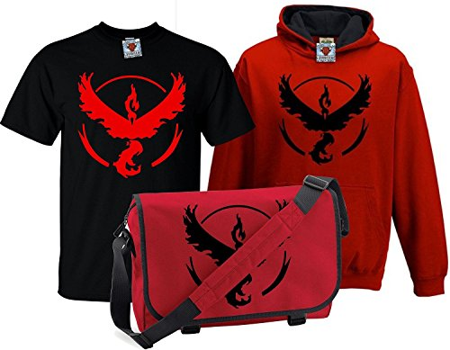 Bullshirt's Kid's Deluxe Team Valor T-Shirt, Contrast Hoodie & Messenger Bag 9-11