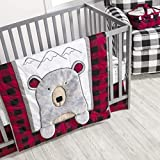 Trend Lab Peak A Bear 3 Piece Crib Bedding Set, Nursery, Buffalo Check, Lumberjack Plaid.