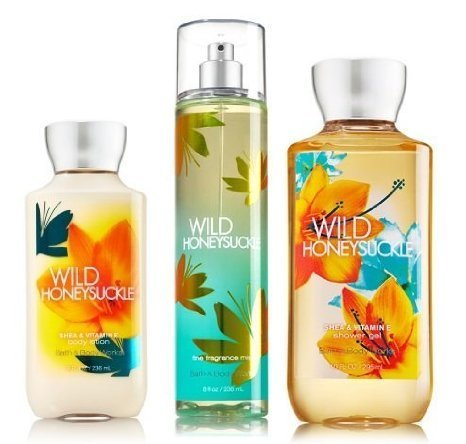 "Price comparison product image Bath & Body Works Signature Collection "" Wild Honeysuckle "" Gift Set ~ Body Lotion ~ Shower Gel & Fragance Mist ~"