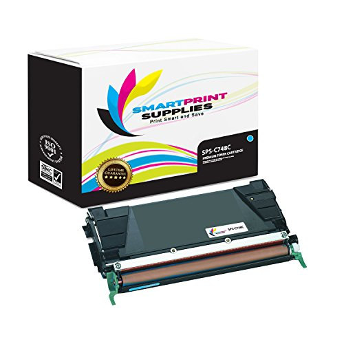 Smart Print Supplies Compatible C748 C748H1CG C7482CG C7484CG Cyan High Yield Toner Cartridge Replacement for Lexmark C748 C746 C748 X746 X748 Printers (10,000 Pages)