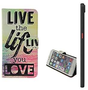 360° Funda Smartphone para HTC Desire 825, 'live the life you love' | Wallet case flip cover caja bolsa Caso Monedero BookStyle - K-S-Trade