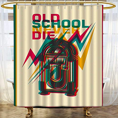 Shower Curtains 3D Digital Printing School Never Die on Radio Backdrop Marig and Hot Pink Custom Made Shower Curtain W36 x H84 inch
