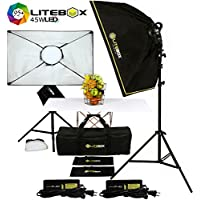 LITEBOX LED Photography Lighting Kit Box Lights for Filming Video & Photoshoots (DIMMABLE) 5500K Daylight Continuous Output Lights, Stands, Diffusers & Travel Bag - 20 x 28