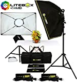 LITEBOX LED Photography Lighting Kit Box Lights for Filming Video & Photoshoots (DIMMABLE) 5500K Daylight Continuous Output Lights, Stands, Diffusers & Travel Bag - 20