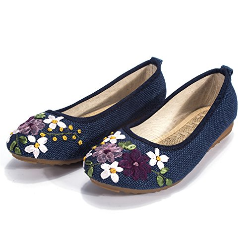 Women's Flats Shoes Flower Embroidery Round Toe Casual Slip On by FUT