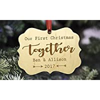 Personalized Couple's Christmas Ornament - Family Christmas Ornament - Personalized Christmas Ornament - Wooden Ornament - Our First Christmas