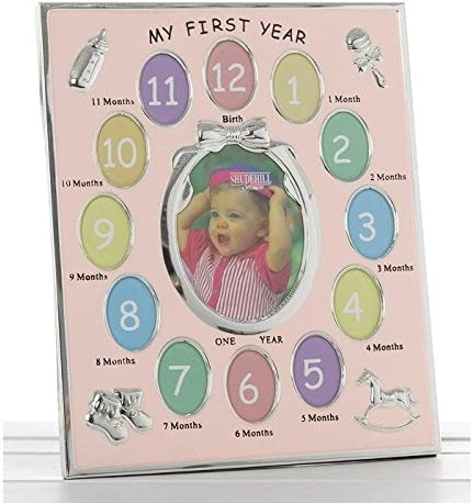 My First Year Baby Gift Idea Pink Photo Frame holds 13 Pictures