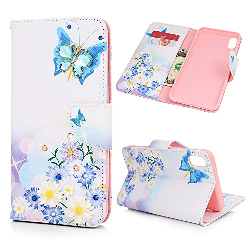 iPhone Xs Max Case, Mavis Diary Fashion Design Butterfly Daisy Shiny Gemstone Rhinestone Transparent Colorful Painted Shockproof Silicone TPU Rubber ()