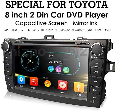 hizpo for 8 Inch Car DVD Player Toyota Corolla 2007 2008 2009 2010 2011 Touch Screen GPS Stereo Music AM FM Radio SWC Bluetooth AV-in Mirrorlink, Optional DAB TMPS