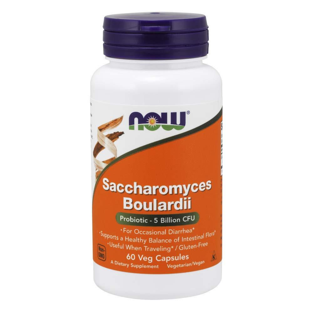 NOW Supplements, Saccharomyces Boulardii,Probiotic 5 Billion CFU, 60 Veg Capsules by NOW