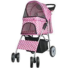 VIVO Four Wheel Pet Stroller, for Cat, Dog and More, Foldable Carrier Strolling Cart, Multiple Colors (Pink & White Polka Dot)