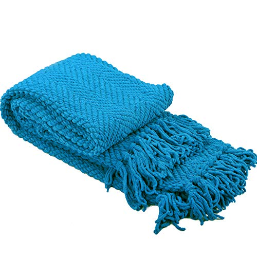 Home Soft Things Knitted Tweed Throw Couch Cover Blanket, 50 x 60, Mediterranean Blue