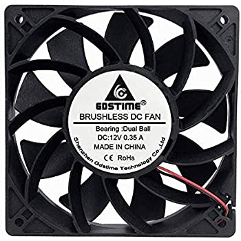 GDSTIME 120mm Case Fan, Increase Air Pressure Fan, 120mm x 25mm 12V Dc Brushless Cooling Fan Dual Ball Bearings Long lifespan
