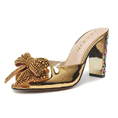 jingyibest Rhinestone Gold Sandals for Womens High Heeled Open Toe Block Heel Dress Party Pumps Designer Shoes | Heeled Sandals