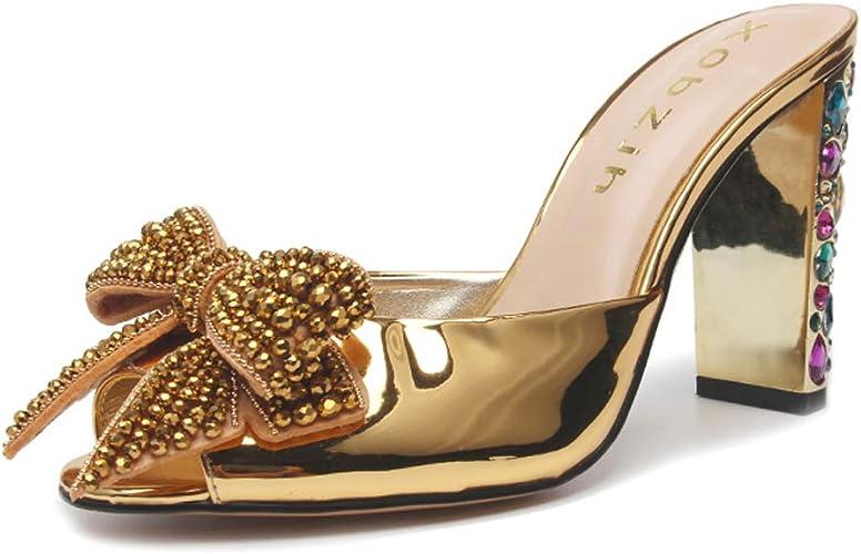Toe Rhinestone Heels Formal Sandals