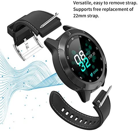 Smart Watch for Android Phones iOS, GPS Smartwatch for Men with Heart Rate and BP Monitor, Pedometer, Text Call Notification, Compass, Barometer, Altitude, Leather and Rubber Bands, Round Face, 2020 51UEs0GoJML