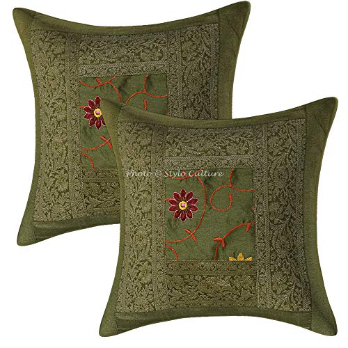 Stylo Culture Ethnic Decorative Accent Pillow Covers 16x16 Set of 2 Olive Green Embroidered Brocade Patchwork Polydupion Bedroom Sofa Cushion Covers Floral 40x40 cm Pillow Cases