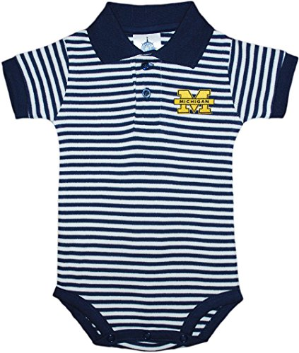 University of Michigan Wolverines Newborn Striped Polo Bodysuit Navy ()