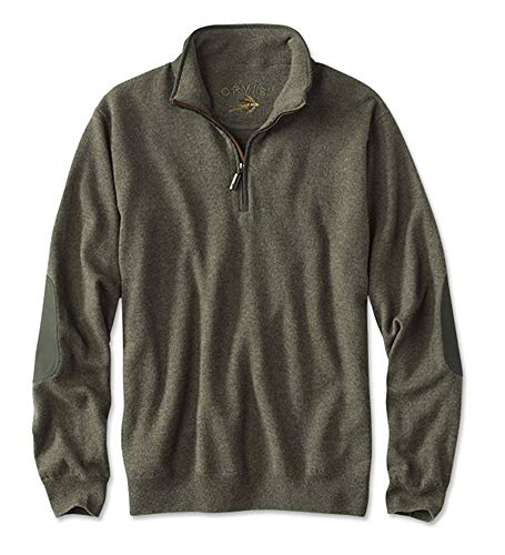 Orvis Men's Wool Cashmere Quarter-Zip Pullover, Olive, X Large