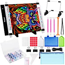 Diamond Painting A4 LED Light Pad Kit, Yoassi DIY Painting Diamond Art Light Board with Complete Diamond Painting Tools and Accessories Great for Full Drill & Partial Drill 5D Diamond Painting