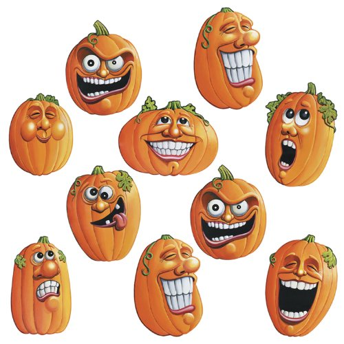 Beistle 4-1/2-Inch Wacky Jack-O-Lantern Cutouts for Halloween, Mini - Cut Out Halloween Pumpkin Face