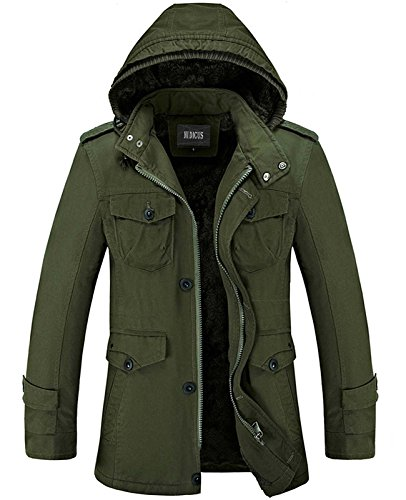 Nidicus Mens Classic Zipper up Pea Coat with Removable Hood & Fleece Lining Army Green XL