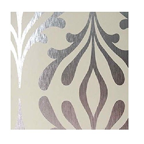 York Wallcoverings Candice Olson Inspired Elegance ND7017 Stardust Wallpaper, Bisque / Silver Foil by York Wallcoverings