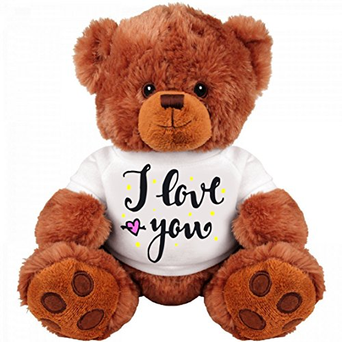Teddy Bear Couple Gift: Funny Medium Teddy Bear Stuffed Animal : I Love You
