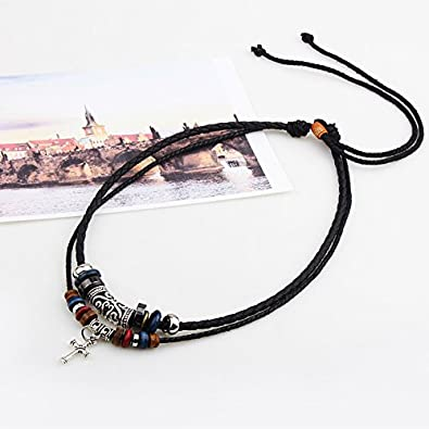 Gyand Vintage Style Pendant Charm Boho Necklace with Double Layers Braided Leather Hemp Cord Chain
