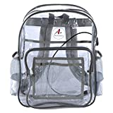 Heavy Duty Clear Backpack With Reinforced Straps Transparent Bookbag With Laptop Sleeve Reflective Lining and USB Port See Through for School Security