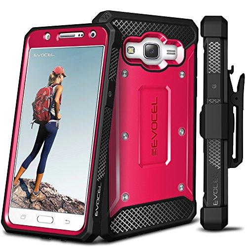 Galaxy J7 (2015) Case, Evocel [Explorer Series] Premium Hybrid Protector [Dual Layer][Belt Swivel Clip] For Samsung Galaxy J7 (SM-J700), Pink (EVO-SAMJ7-ZZ05)